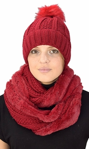 Red 98 Cable Knit Weave Beanie Hat Plush Infinity Loop Scarf 2 Pack