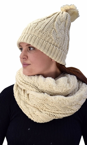 Tan 97 Cable Knit Weave Beanie Hat Plush Infinity Loop Scarf 2 Pack