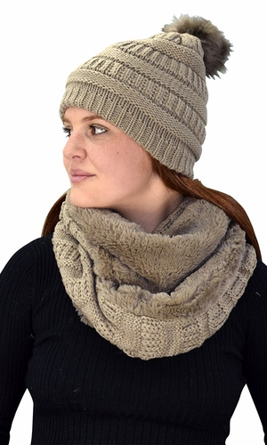 Thick Cable Knit Weave Beanie Hat Plush Infinity Loop Scarf 2 Pack Tan 98
