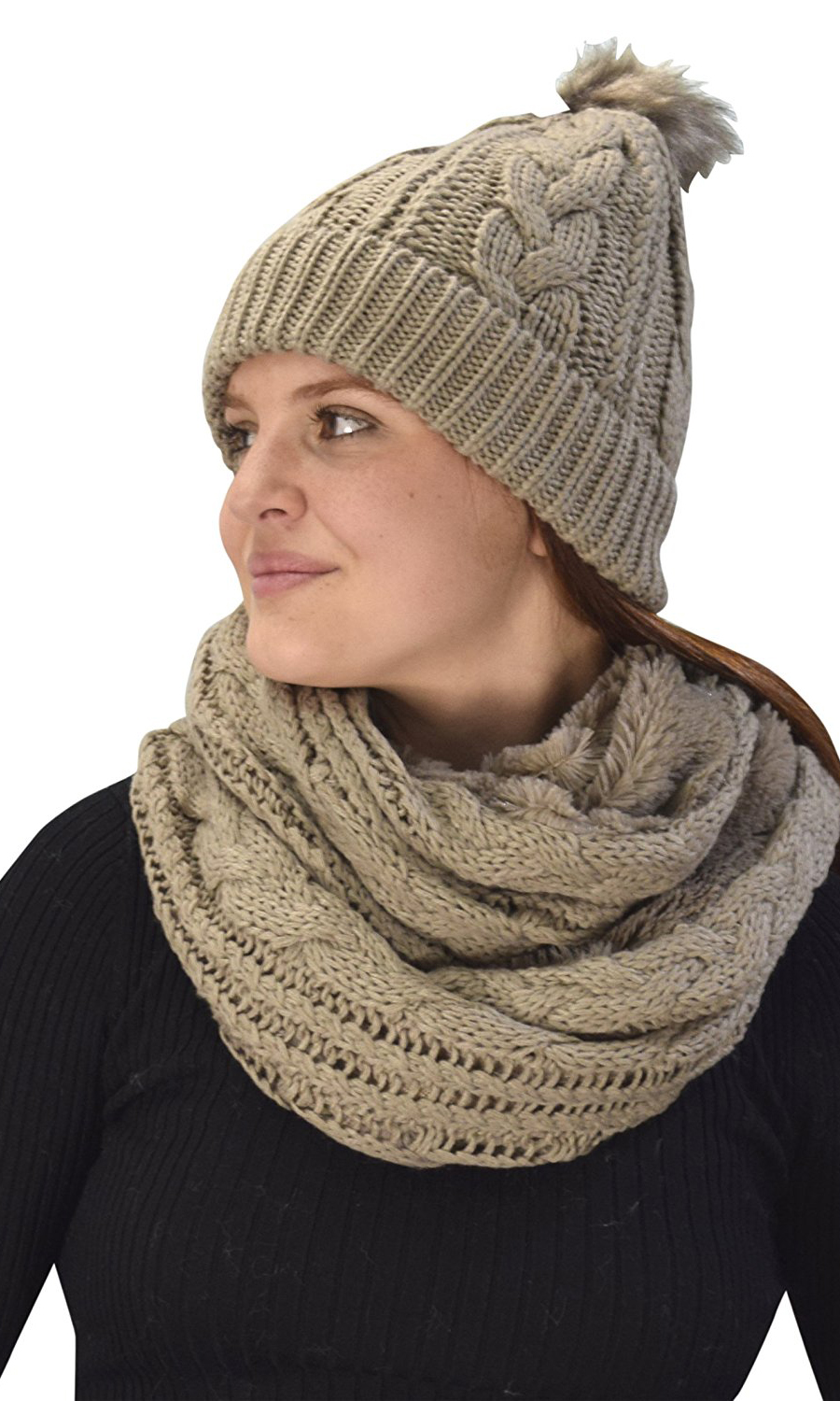 d4853d2d0ea Taupe 97 Cable Knit Weave Beanie Hat Plush Infinity Loop Scarf 2 Pack