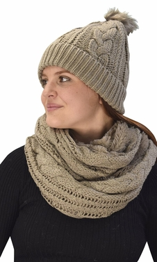 Taupe 97 Cable Knit Weave Beanie Hat Plush Infinity Loop Scarf 2 Pack