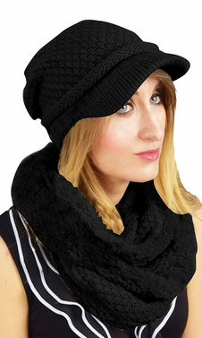 Black Crochet Plush Visor Beanie Hat Infinity Loop Scarf 2 Pack