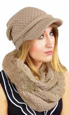Tan Crochet Plush Beanie Hat Infinity Loop Scarf 2 Pack (One Size)