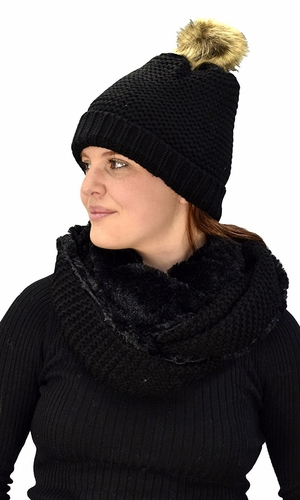 Black 90 Crochet Weave Beanie Hat Plush Infinity Loop Scarf 2 Pack
