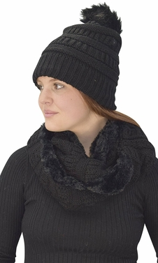 Black 99 Crochet Weave Beanie Hat Plush Infinity Loop Scarf 2 Pack