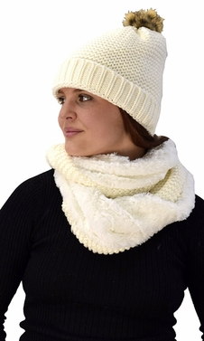 Cream 90 Crochet Weave Beanie Hat Plush Infinity Loop Scarf 2 Pack