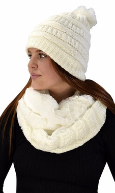 Cream 99 Crochet Weave Beanie Hat Plush Infinity Loop Scarf 2 Pack