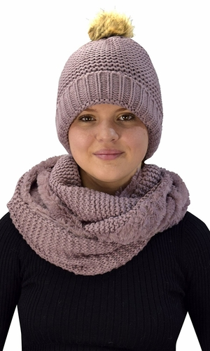 Thick Crochet Weave Beanie Hat Plush Infinity Loop Scarf 2 Pack Dust Pink 90