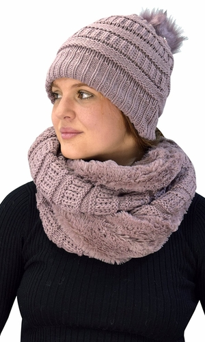 Thick Crochet Weave Beanie Hat Plush Infinity Loop Scarf 2 Pack Dust pink 99