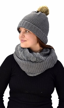 Grey 90 Crochet Weave Beanie Hat Plush Infinity Loop Scarf 2 Pack