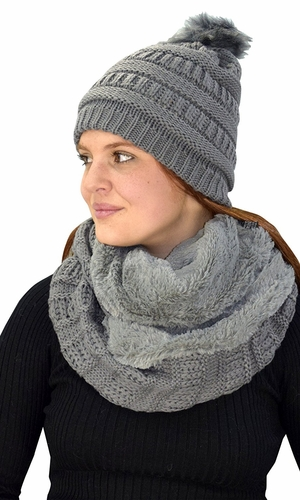 Grey 99 Crochet Weave Beanie Hat Plush Infinity Loop Scarf 2 Pack