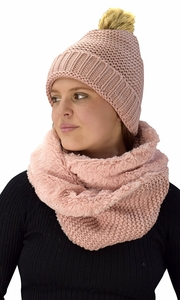 Thick Crochet Weave Beanie Hat Plush Infinity Loop Scarf 2 Pack Pink 90