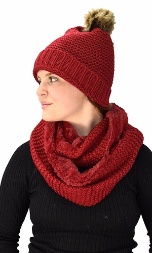 Red 90 Crochet Weave Beanie Hat Plush Infinity Loop Scarf 2 Pack