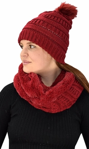 Red 99 Crochet Weave Beanie Hat Plush Infinity Loop Scarf 2 Pack
