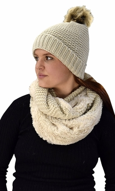 Tan Crochet Weave Beanie Hat Plush Infinity Loop Scarf 2 Pack