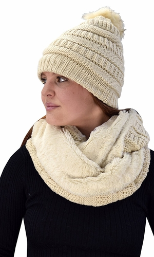 Tan 99 Crochet Weave Beanie Hat Plush Infinity Loop Scarf 2 Pack