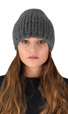 Charcoal Cable Knit Hat Beanie Slouchy Double Braid Stich