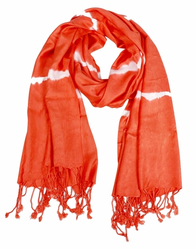Soft and Silky Vibrant Colored Tie Dye Pashmina Shawl (Orange)