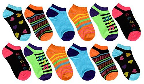 Toddler Girls Low Cut Ankle Crew Socks Value Pack of 12 (Ages 3 to 7) Assorted