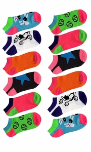 Toddler Girls Low Cut Ankle Crew Socks Value Pack of 12 (Ages 3 to 7) Assorted 4