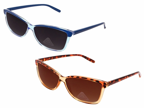 Blue 2 Pack Cheetah Translucent Retro Wayfarer Style Sunglasses with Poly-Carbon Lens