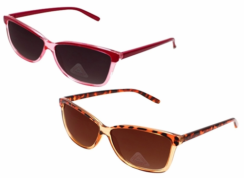 2 Pack Pink and Cheetah Translucent Retro Wayfarer Style Sunglasses with Poly-Carbon Lens