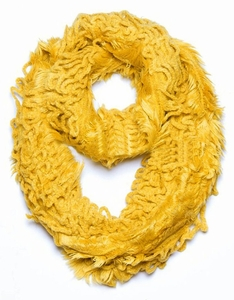 Trendy and Chic Plush Ruffle Infinity Loop Mustard Scarf