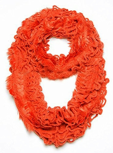 Trendy and Chic Plush Ruffle Infinity Loop Tangerine Scarf