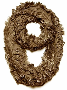 Trendy and Chic Plush Ruffle Infinity Loop Warm Taupe Scarf