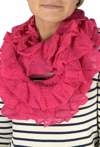 Fuchsia Trendy Ruffle Edge Thick Knitted Circle Infinity Loop Scarf