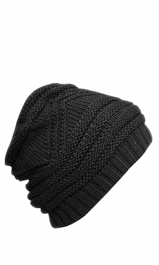 Black Trendy Warm Zig Zag Crochet Knit Convertible Beanie Neck wear