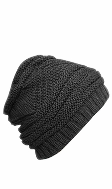 Gray Trendy and Warm Zig Zag Crochet Knit Convertible Beanie Neck wear