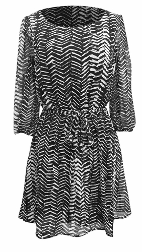 Black-White Trendy Mid-Length Chevron Inky Edged Print Dress