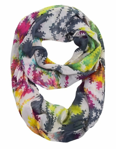 Trendy Rainbow Puzzle Infinity Loop Scarf (Multicolor)