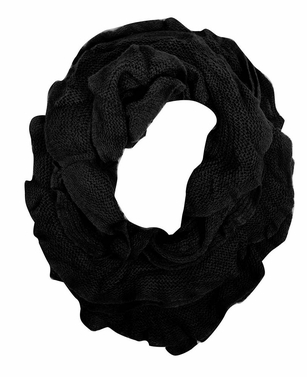 Trendy Solid Color Ruffle Edge Knitted Stretch Infinity Loop Scarf (Black)