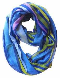 Dark Blue Trendy Striped Print Light and Soft Fashion Infinity Loop Scarf