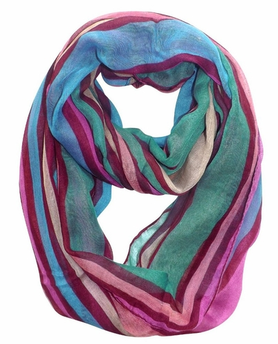 Maroon Trendy Striped Print Light and Soft Fashion Infinity Loop Scarf