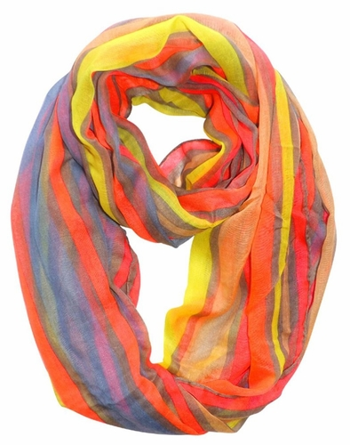 Neon Pink Trendy Striped Print Light and Soft Fashion Infinity Loop Scarf