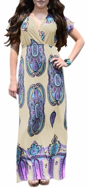 Off White Tribal Aztec Printed V-Neck Clinched Waist Short Sleeve Maxi Dress