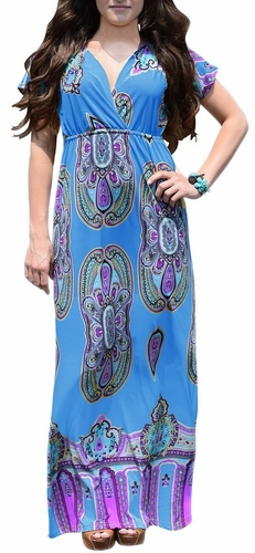 Sky Blue Tribal Aztec Printed V-Neck Clinched Waist Short Sleeve Maxi Dress