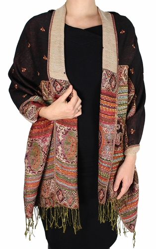 Black Tribal Design Reversible Pashmina Wrap Shawl Scarf