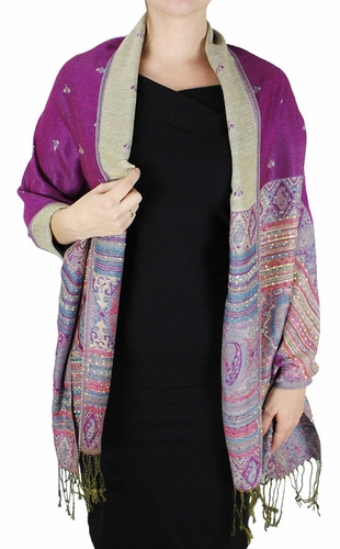 Fuchsia Tribal Reversible Pashmina Wrap Shawl Scarf
