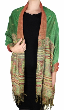 Green Tribal Design Reversible Pashmina Wrap Shawl Scarf