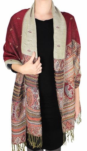 Maroon Tribal Reversible Pashmina Wrap Shawl Scarf