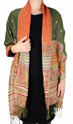 Olive Tribal Design Reversible Pashmina Wrap Shawl Scarf