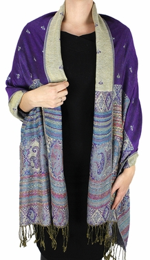 Purple Tribal Design Reversible Pashmina Wrap Shawl Scarf