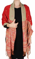 Tribal Design Reversible Pashmina Wrap Shawl Scarf (Red)