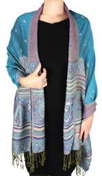 Turquoise Tribal Design Reversible Pashmina Wrap Shawl Scarf