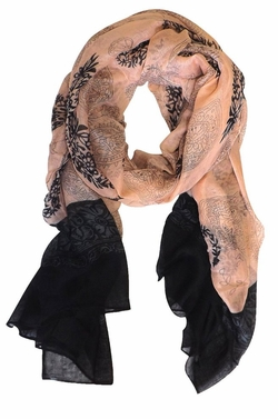 Peach-Black Tribal Floral Two Color Paisley Print Lightweight Shawl Scarf