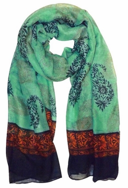 Green-Black Tribal Floral Two Color Paisley Print Lightweight Shawl Scarf